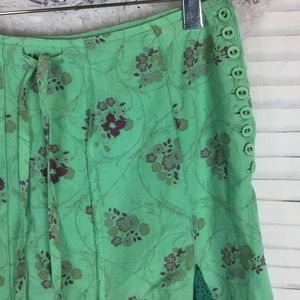 Ikks Skirts - IKKS Green Boho Pleated Flower Midi Godet Skirt 26